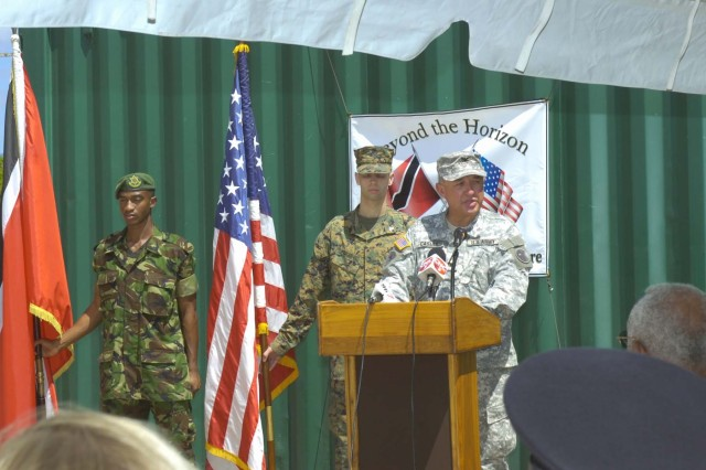 U.S. Army South Col. Robert Casias, commander of the Partnership for the Americas Engagement Team - Caribbean, speaks at the Mar. 26 opening ceremony for Beyond the Horizon in Trinidad and Tobago.  (Photo by Master Sgt. Brenda Benner, Texas Army National Guard)
