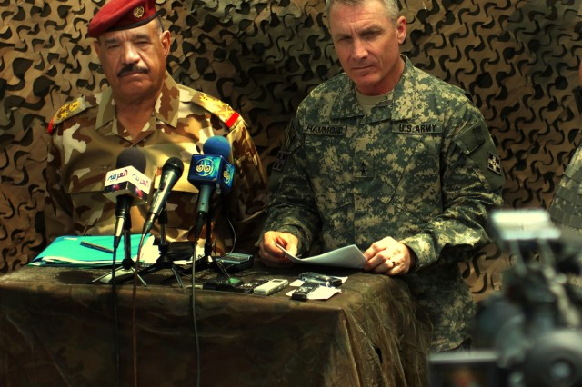 Gen. Abud Qanbar Hashim, commander of the Baghdad Operations Command, and Maj. Gen. Jeffery Hammond, commander of the 4th Infantry Division and Multi-National Division - Baghdad, spoke to the press April 6 about the recent increase of violence in Sadr City.  The two leaders said Iraqi Security Forces, with support from U.S. Forces, are continuing their mission to provide security and stability to the Iraqi people.