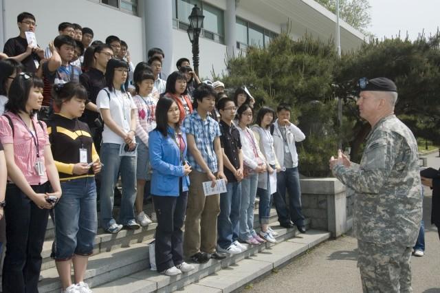 USFK Commander Gen. B.B. Bell speaks to Good Neighbor English Camp attendees