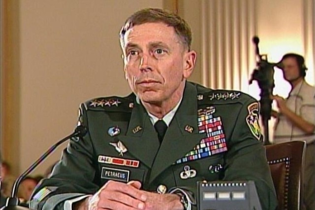 Gen. David Petraeus, the top U.S. military commander in Iraq, appears before Congress to testify on assessments of the progress in Iraq, shown here Sept. 10, 2007.