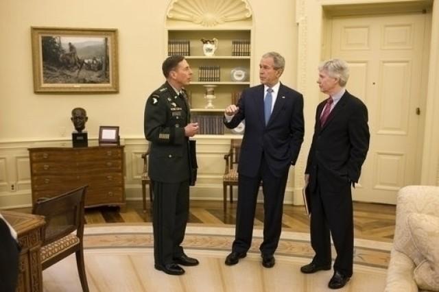 President George W. Bush meets with Gen. David Petraeus and U.S. Ambassador to Iraq Ryan Crocker April 10 at the White House.