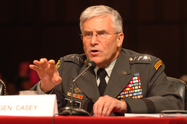 Chief of Staff of the Army Gen. George W. Casey Jr. is shown here testifying to the Senate Armed Services Committee during a Posture Hearing Feb. 26. Wednesday he addressed a House Appropriations subcommittee on military construction.
