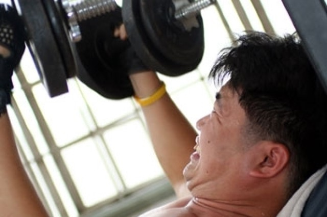 "Weightlifing is one way Army civilians can participate in the ""Fit for Life"" program."