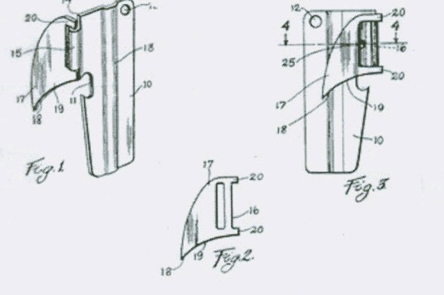 """Design drawing for U.S. Patent No.  2412946 ,""""Can Opener"""" invented by  S. Bloomfield, dated December 24, 1946 (U. S. Patent Office)."""