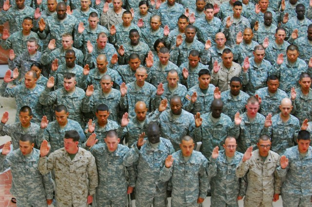 Two hundred fifty-nine U.S. troops currently serving throughout Iraq became American citizens at Al Faw Palace on Camp Victory, April 12, in the largest naturalization ceremony to date in Iraq.