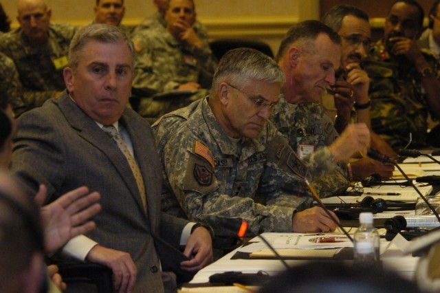 Atlanta, Ga. - Gen. (Ret.) John Abizaid, former commander of U.S. Central Command, Gen. George W. Casey Jr., chief of staff of the U.S. Army, and Lt. Gen. James J. Lovelace, commander of U.S. Army Central, engage in dialogue during the opening session of the Land Forces Symposium, Apr. 14, 2008. The theme of this year's symposium (which delegates from 22 countries are participating in) is <i>Adaptability of Land Forces to 21st Century Security Challenges</i>. It emphasizes the importance of multinational cooperation in addressing issues both regionally and sub-regionally in the U.S. Central Command area of responsibility.