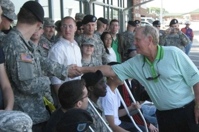 Jack greets Soldiers.
