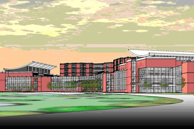 Artist\'s rendering of the $747-million 120-bed medical treatment facility now being constructed at Fort Belvoir