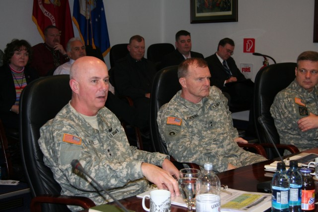 Maj. Gen. James Myles (left), commander of the U.S. Army Aviation and Missile Life Cycle Management Command and Maj. Gen. Yves Fontaine, commander of the U.S. Army 21st Theater Sustainment Command, received briefings from key Army aviation personnel in the European theater during AMCOM's Army Aviation General Officer Symposium.
