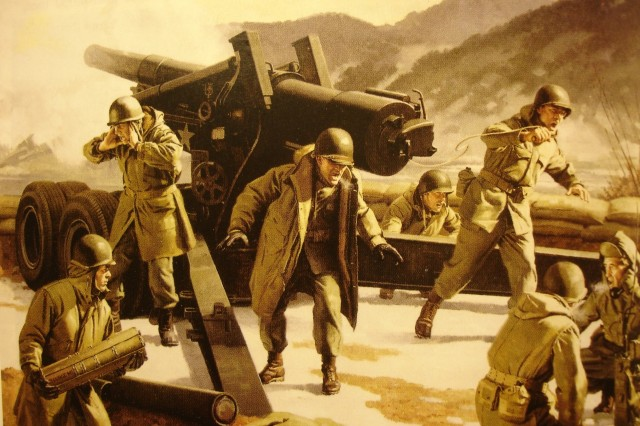 Soldiers of Battery C, 780th Field Artillery Battalion, fire an 8-inch howitzer at Kajon-Ni, Korea, near the 38th Parallel.  The 780th, an Army Reserve unit headquartered in Roanoke, Va., served in Korea from April 1951 to December 1954.   The 780th was attached to X Corps, Eighth U.S. Army.