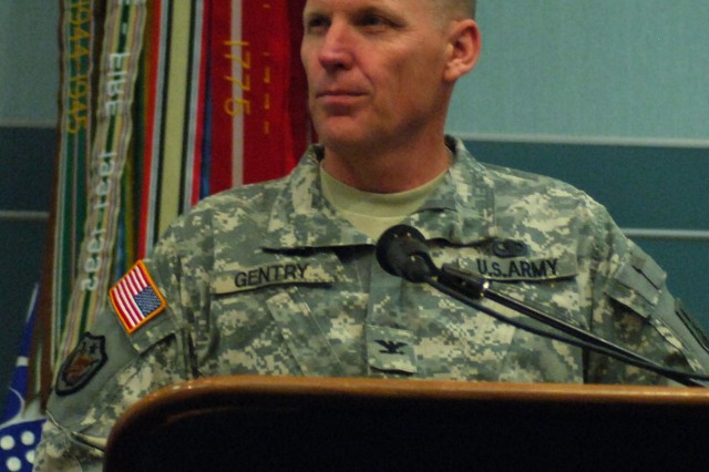 Col. Donald Gentry, USASMA commandant, opens the 2008 Commandants Workshop, held April 15-17 at Fort Bliss, Texas, by welcoming the more than 150 attendees from NCO academies throughout the Army.