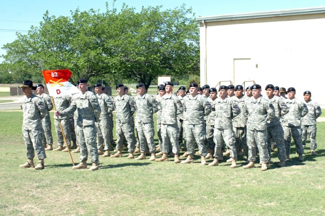 """Soldiers of """"Dagger"""" Troop, 1st Battalion, 82nd Field Artillery Regiment, 1st Brigade Combat Team, 1st Cavalry Division stand tall during the deactivation ceremony for Troop D on Fort Hood, Texas April 15."""