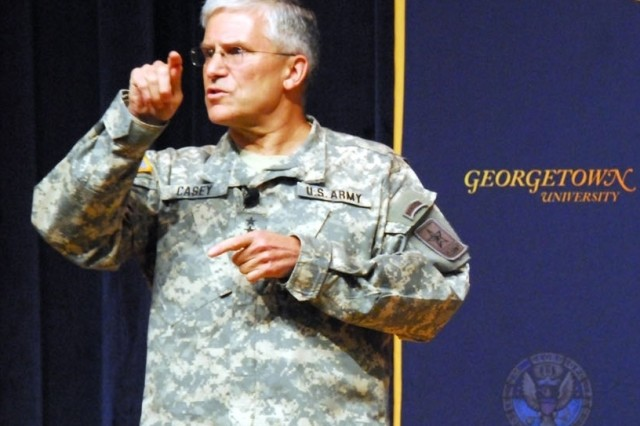 Army Chief of Staff Gen. George W. Casey Jr., spoke April 23 at Georgetown University about the developing trends that will shape the global environment in coming years, and how America's military must be ready to adapt.
