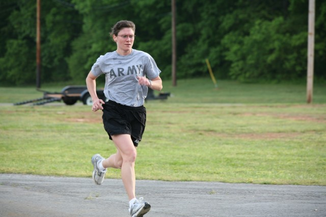 Maj. Pamela Tingle leads the group from start to finish during the two-mile run.