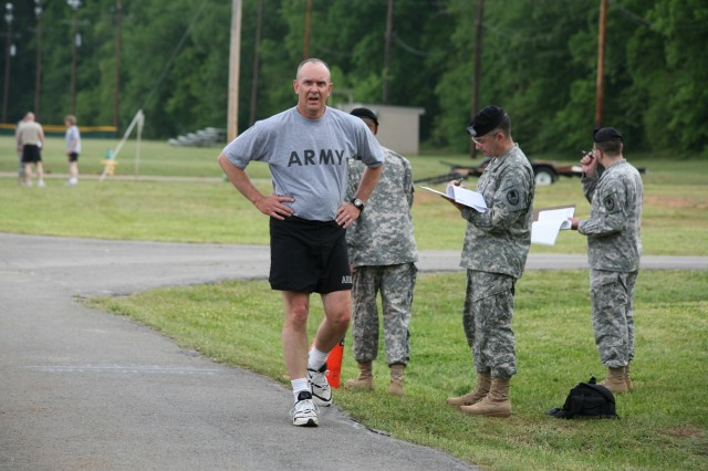 Col. William Whitney cools down after finishing the two-mile run.