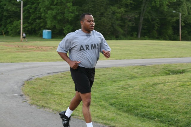 Sgt. 1st Class Felix Green has a steady pace during the two-mile run.