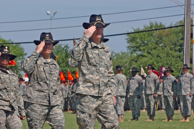 The new commanding general of the 1st Cavalry Division Maj. Gen. Daniel P. Bolger of Aurora, Ill., salutes during the First Team's Change of Command Ceremony held at Cooper Field April 29. Bolger will spend the next two weeks getting to know his