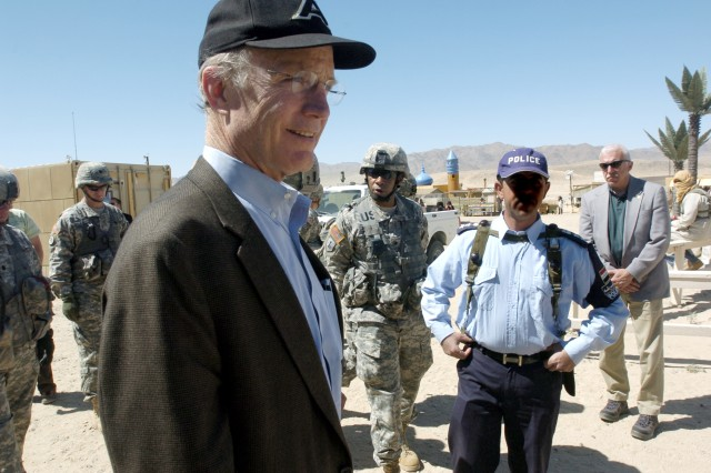 Secretary of the Army, the Honorable Pete Geren greets Iraqi role players during his visit to the National Training Center and Fort Irwin. The role players are an integral part of the training scenarios for units preparing for deployment to OIF/OEF.