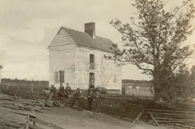 Wilderness Tavern, General Grant's headquarters in the Battle of the Wilderness,(Massachusetts MOLLUS Photograph Collection).