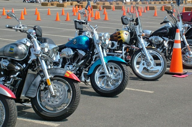 Colorful cruising bikes line the outside of the demonstration area at the Motorcycle Safety Event May 2.
