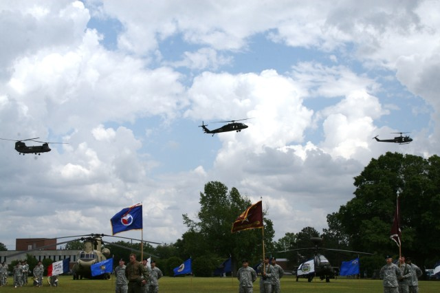 Army Aviation aircraft pass above Howze Field April 25 during the Salute to the Branch, which was one of several activities at Fort Rucker last week in observance of the 25th Anniversary of the Aviation Branch.