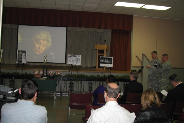 A video on the Holocaust is shown before the Days of Remembrance program in the Diane Campbell Recreation Center.