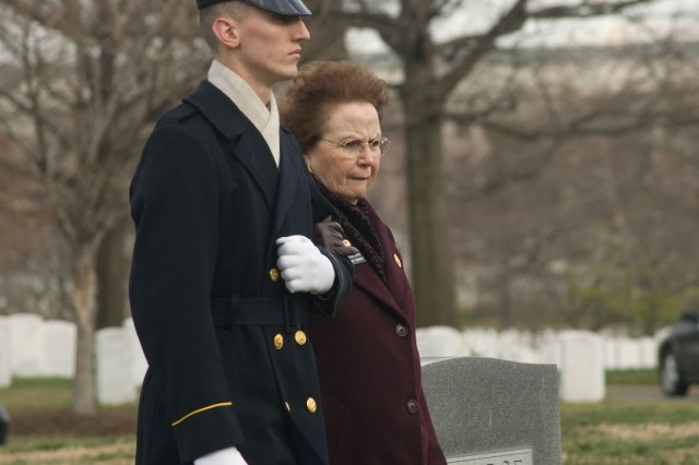 Escorted by members of the The Old Guard, Arlington Ladies attend the burial of every servicemember interred at Arlington National Cemetery.