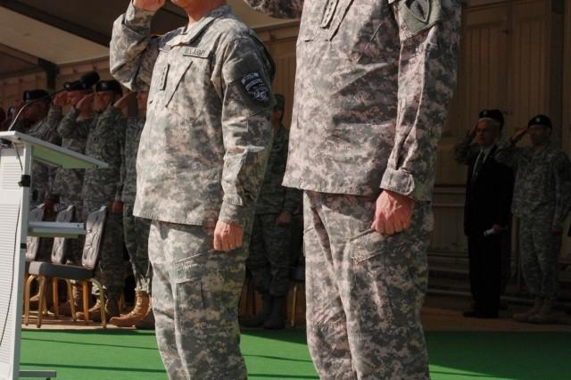 Gen. Bantz J. Craddock, commander of the U.S. European Command (left) and Gen. David D. McKiernan, U.S. Army Europe commander, salute during McKiernan's farewell ceremony at Campbell Barracks in Heidelberg, Germany, May 2.
