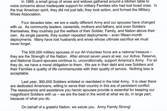 2008 Military Spouse Day Message