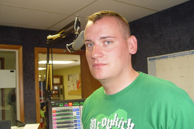 Spc. Zachary Kidwell, Warrior Transition Battalion, Fort Riley, Kan., interns in the fields of radio operations and broadcasting in Junction City, Kan.