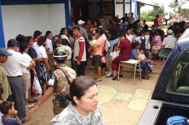 U.S. and Salvadoran military members work together to help hundreds of Salvadoran citizens who took advantage of the medical assistance phase of FA-Hum 2008. They were treated for minor ailments and given medicine, vitamins and first aid. Those with severe illnesses were referred or evacuated for additional treatment to medical facilities. FA-Hum is designed to enhance civil-military cooperation and build humanitarian-assistance capabilities throughout the Western Hemisphere.