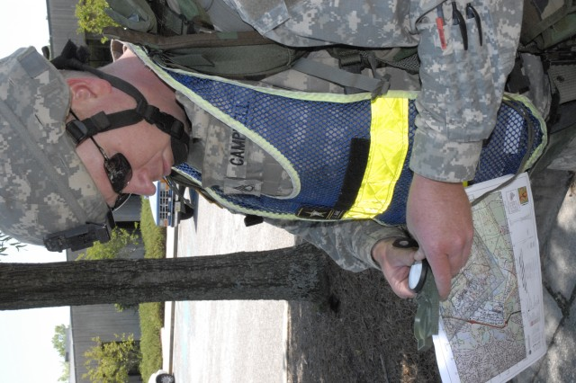 Staff Sgt. Clint Campbell, Company C, Task Force Marshall, reviews a map of the installation April 29 before beginning the urban orienteering portion of the 2008 Fort Jackson Drill Sergeant of the Year Competition.