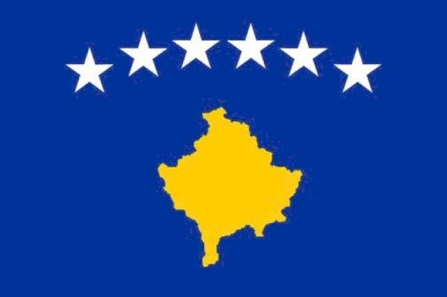 The Kosovo flag, represented by the yellow province on a blue background with six white stars, was presented by the Kosovo parliament in February 2008 and represents the flag of the youngest country in the world.""