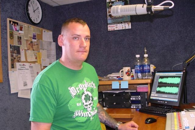 Spc. Zach Kidwell, pictured here at radio station in the Greater Fort Riley Community, is one of several Soldiers in the Fort Riley, Kan., Warrior Transition Battalion who are taking advantage of the Warrior Internship Network -- a new program that offers internships to Soldiers in the WTB.