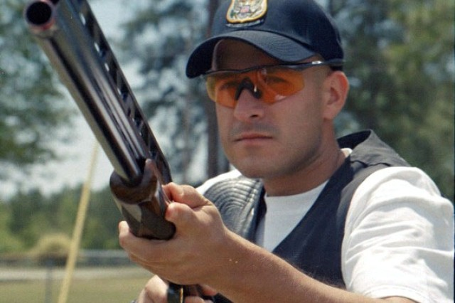 Spc. Jeffery G. Holguin of the USAMU Shotgun Team prepares to fire May 7 at the World Cup USA for Shotgun. Holguin shot 13 targets during a shoot-off, claiming the bronze medal.