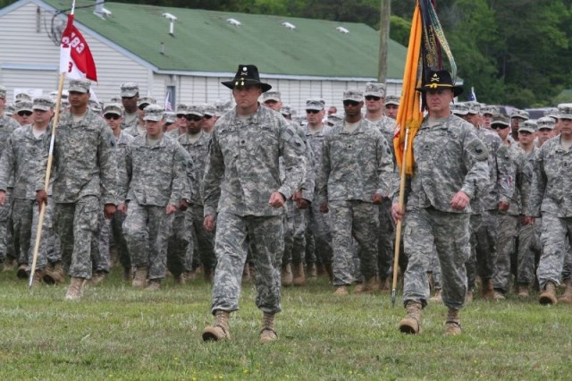 Lt. Col. Walt Mercer of Hanover County leads the returning Soldiers home.