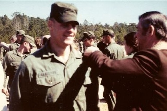 Col. Hamilton is pinned by his own father, Sgt. Maj. (Ret.) John Hamilton, during his graduation from Ranger School in March of 1980. Sgt. Maj. Hamilton completed the course himself in 1953.