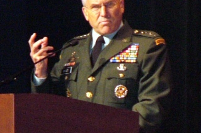 Gen. George W. Casey, Jr., Chief of Staff of the Army, addresses the audience at the Gen. Douglas MacArthur Leadership Awards ceremony May 14, 2008. Casey praised the award recipients for their exceptional service and quality of leadership.