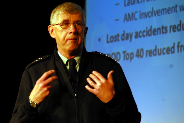 Gen. Benjamin S. Griffin speaks about Continuous Process Improvement to servicemembers at the Department of Defense CPI Symposium Tuesday.