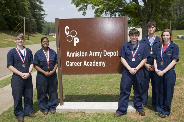 After receiving medals in various fields at the SkillsUSA competition, the Career Academy students proudly don their medals. From left to right, they are: Jonathan Kellett, Marshay McCluney, Trent Gray, Josh Lambert and Jesslyn Johnson.