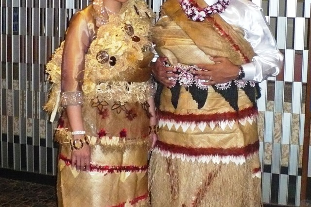 Pakileata-Gallahar and her husband Tassy Gallahar don traditional Tongan wedding attire during their wedding ceremony last October. The clothes are handmade from tapa cloth, fine mats and ornaments passed down as heirlooms, which symbolize great social importance.