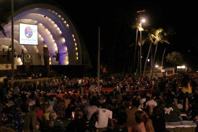 A large crowd gathers at the Waikiki Shell on the island of Oahu, May 9, to celebrate romance during the 2nd Annual Hawaii Romance Festival. The Back to Romance concert featured a special tribute to military couples, as well as celebrated love and music as performers entertained spectators with some of the most romantic songs ever written.