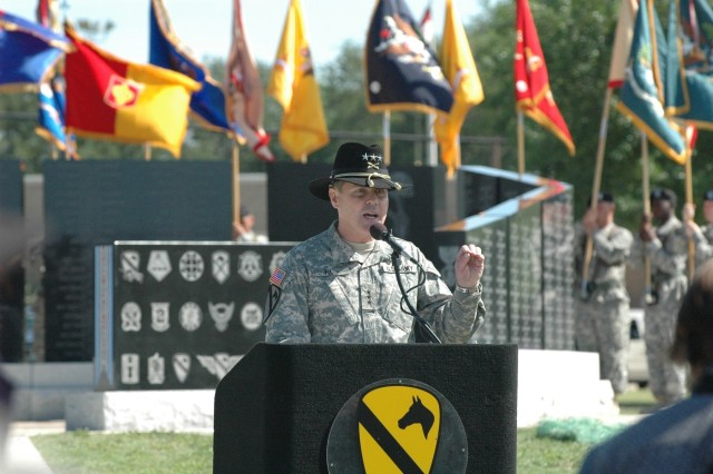 Former commanding general of the 1st Cavalry Division, Lt. Gen. Joseph F. Fil, Jr., of Portola Valley, Calif., speaks to Gold Star families, friends and troopers of the heavy-armored division, during a rededication ceremony held at Cooper Field May 16. Fil is currently the commander of 8th United States Army based out of Korea.