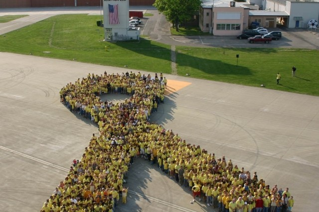 "On May 14, 2008, 1,385 Soldiers, Family members, Civilians and local nationals of the Ansbach military community in Germany, came together at Storck Barracks and set the unofficial armed forces record for the largest yellow ribbon formation.  <a href=""http://www.army.mil/-news/2008/05/16/9221-ansbach-sets-largest-yellow-ribbon-formation-record/""> Click here for more </a>"
