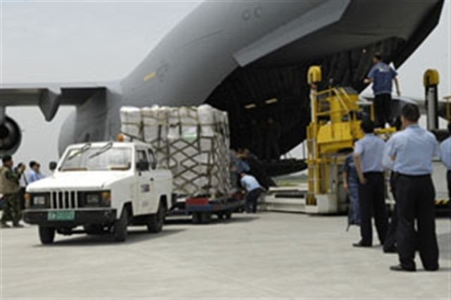 Earthquake relief supplies from the United States are unloaded at the Shuangliu International Airport in Chengdu, China, from a U.S. Air Force C-17 Globemaster.
