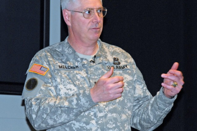 Lt. Gen. David Melcher, military deputy for budget, Offcie of the Assistant Secretary of the Army (Financial Management and Comptroller) interacts with the audience at the Army Leader Forum on Tuesday.