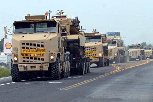 96th Trans. transports 11 tanks from Fort Hood to Fort Bliss May 10.