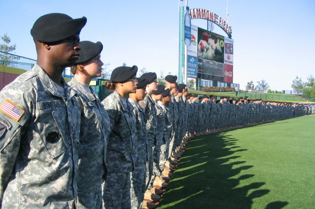 3.More than 400 servicemembers line the outfield at Hammons Field, May 17, during opening ceremonies of the Springfield Cardinals' game against the Tulsa Drillers. Photo by Matt Decker