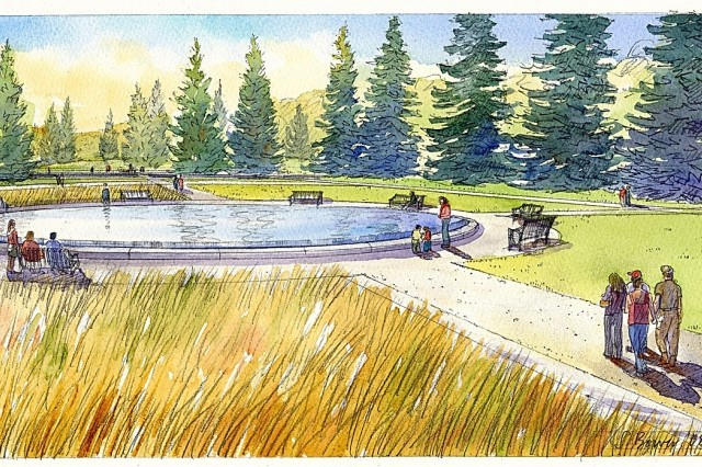 Architect's drawing if the planned Fort Lewis reflection Park.