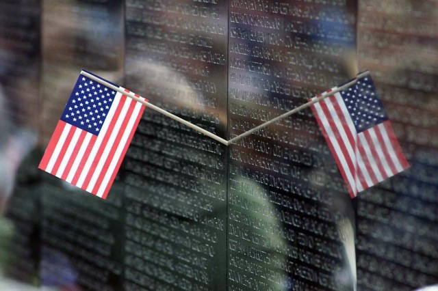 A reflection on the Vietnam Memorial, located on the National Mall, in Washington, D.C.